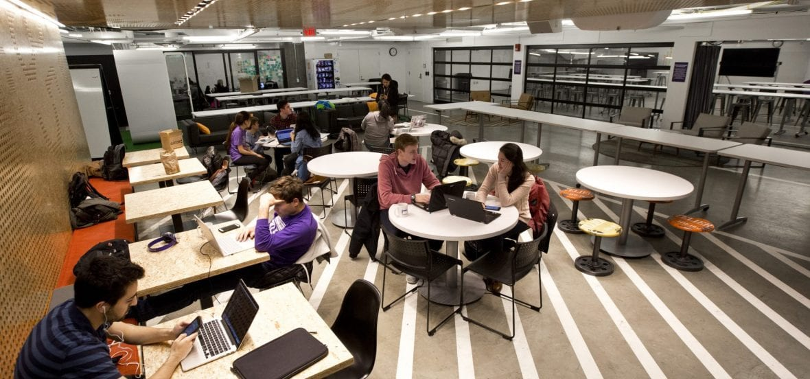 Image of students working in The Garage Cafe