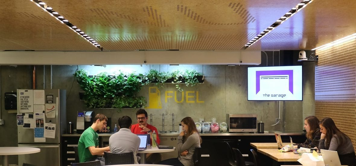 Image of students in The Garage cafe working
