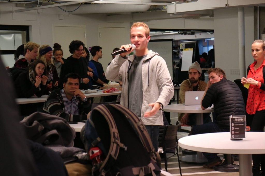 Image of Lucas Philips speaking at Family Dinner