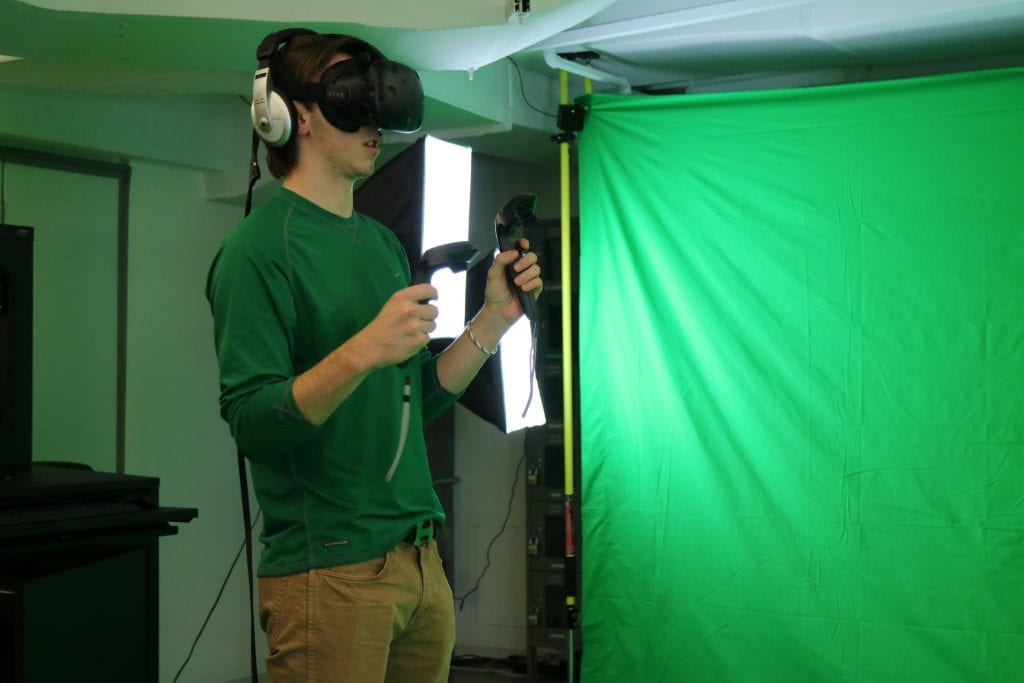 Image of a student wearing a virtual reality headset