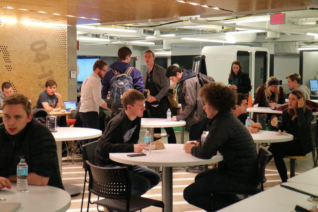 Image of students in The Garage cafe