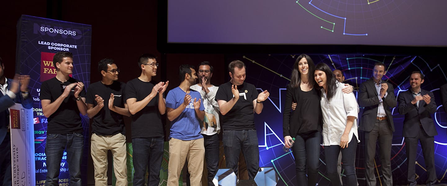 Image of VentureCat winners standing on stage