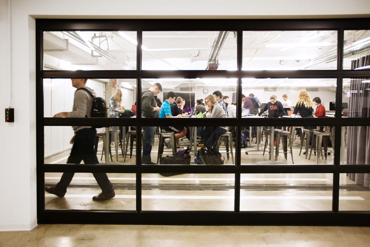 Image of students in the Workspace